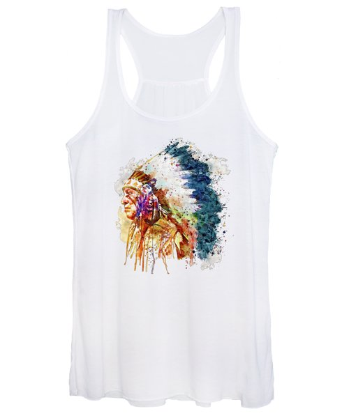 Native American Chief Side Face Women's Tank Top
