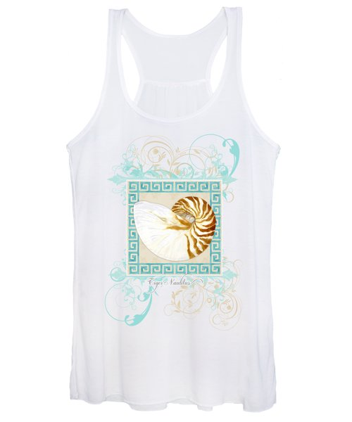 Nautilus Shell Greek Key W Swirl Flourishes Women's Tank Top