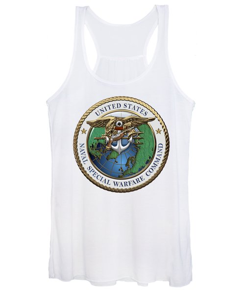 Naval Special Warfare Command -  N S W C - Emblem Over White Leather Women's Tank Top
