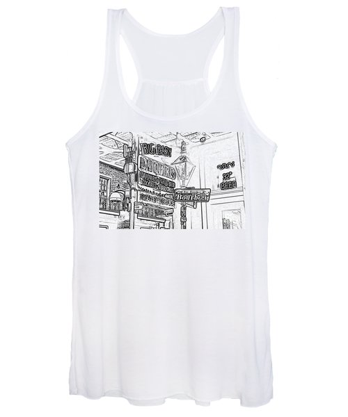 Neon Sign On Bourbon Street Corner French Quarter New Orleans Black And White Photocopy Digital Art Women's Tank Top