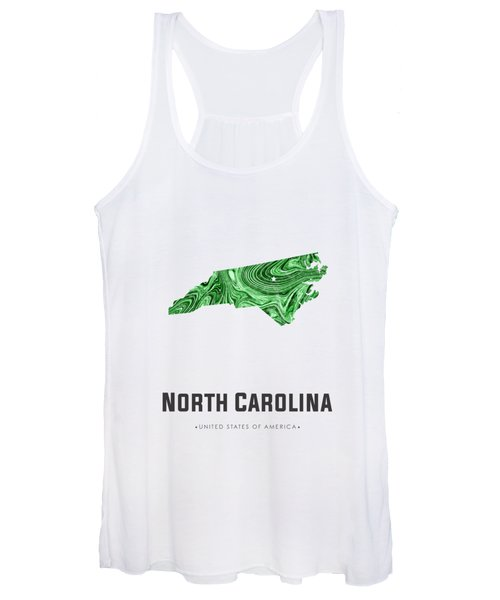North Carolina Map Art Abstract In Green Women's Tank Top