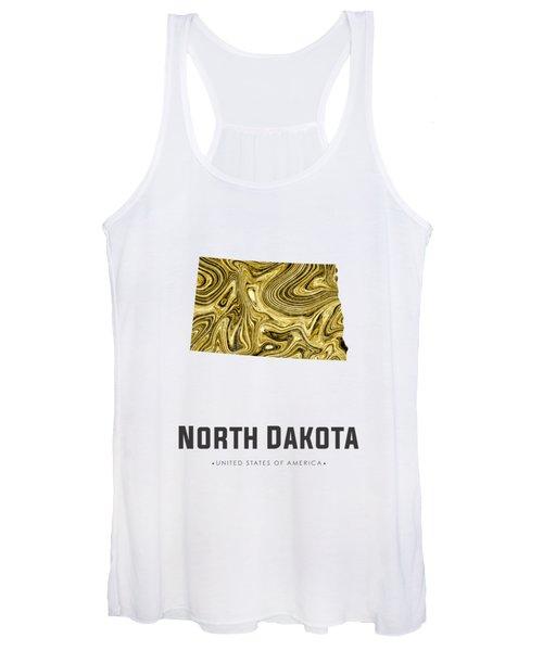 North Dakota Map Art Abstract In Golden Brown Women's Tank Top