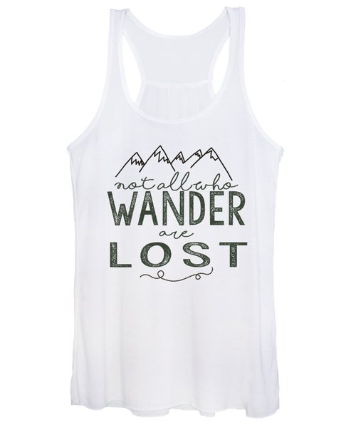Not All Who Wander Green Women's Tank Top