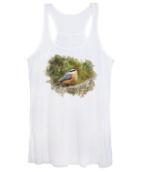 Nuthatch Watercolor Art Women's Tank Top
