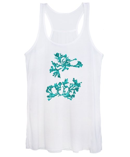 Women's Tank Top featuring the mixed media Ocean Seaweed Plant Art Phyllophora Rubens by Christina Rollo