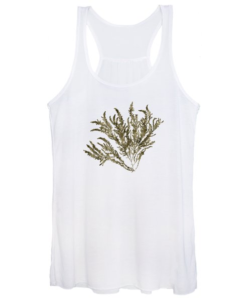 Women's Tank Top featuring the mixed media Ocean Seaweed Plant Art Ptilota Sericea Square by Christina Rollo