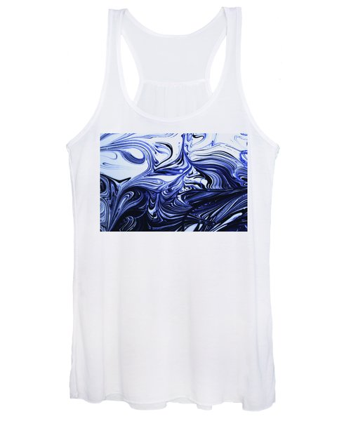 Oil Swirl Blue Droplets Abstract I Women's Tank Top