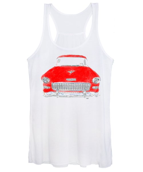 Old Red Car Drawing T-shirt Women's Tank Top