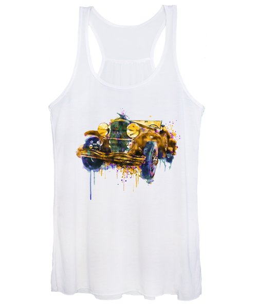 Oldtimer Automobile In Watercolor Women's Tank Top