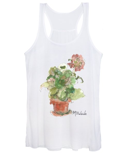 Original Buspaintings Geranium Watercolor Painting By Kathleen Mcelwaine Women's Tank Top