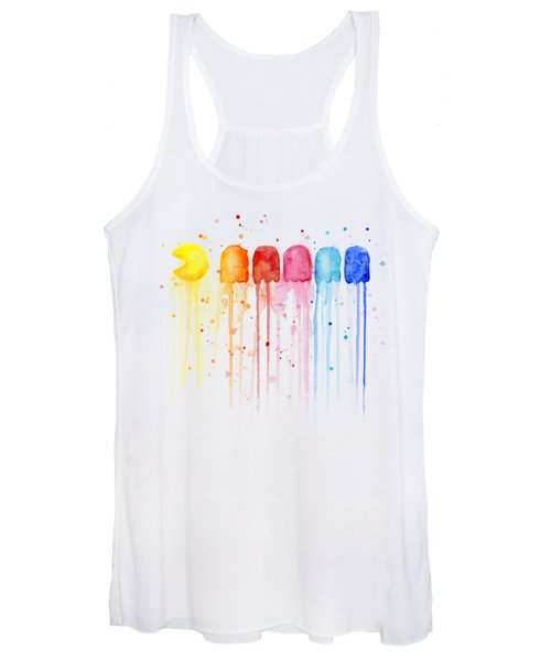 Pacman Watercolor Rainbow Women's Tank Top