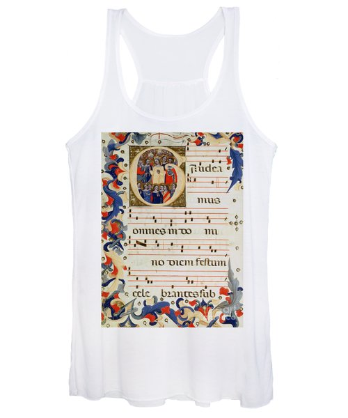 Page Of Musical Notation With A Historiated Letter G Women's Tank Top