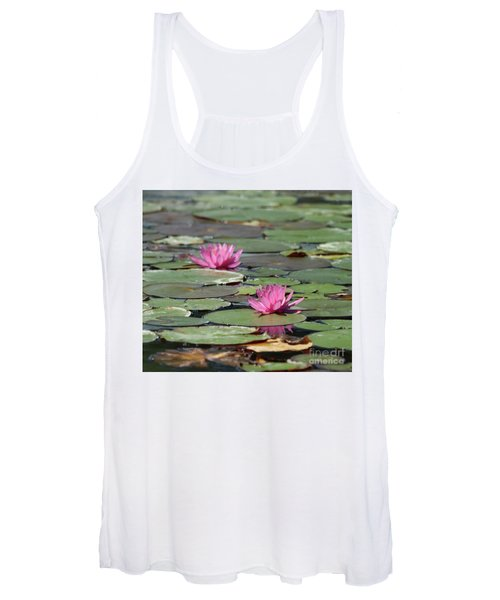 Pair Of Pink Pond Lilies Women's Tank Top