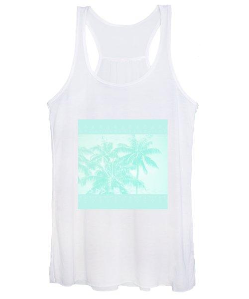 Palm Trees Hawaii Tropical Cyan Women's Tank Top