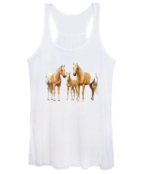 Palomino Appaloosa Horses In Winter Women's Tank Top