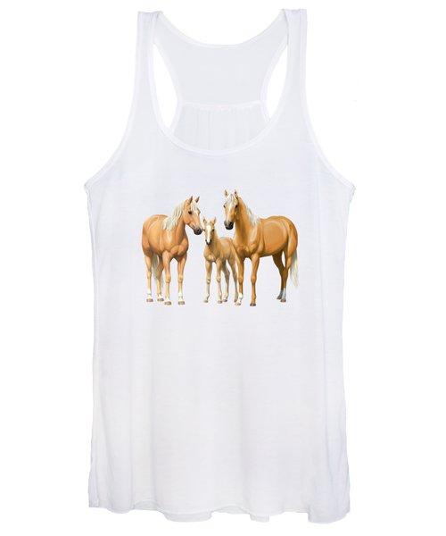 Palomino Horses In Winter Pasture Women's Tank Top