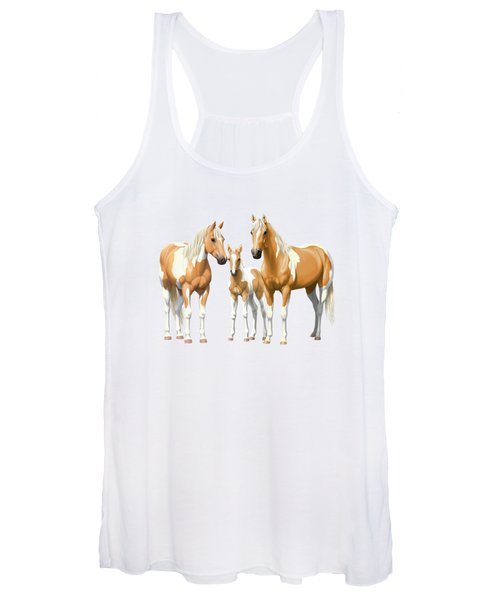 Palomino Paint Horses In Snow Women's Tank Top