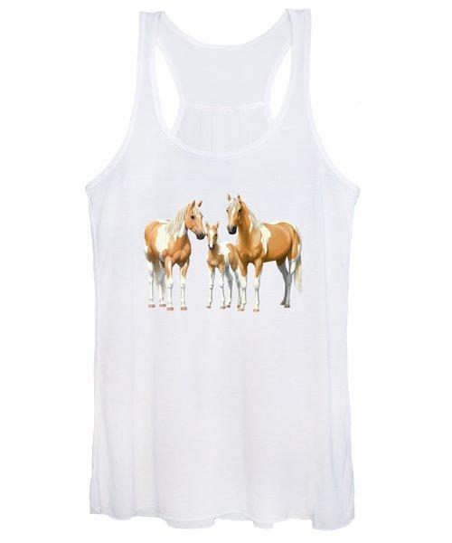 Palomino Paint Horses In Winter Pasture Women's Tank Top