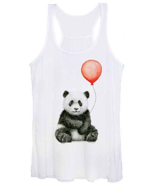 Panda Baby And Red Balloon Nursery Animals Decor Women's Tank Top