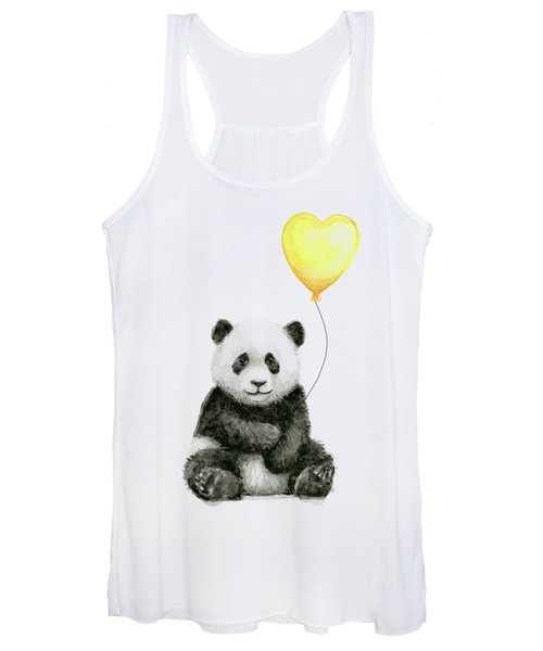 Panda Baby With Yellow Balloon Women's Tank Top