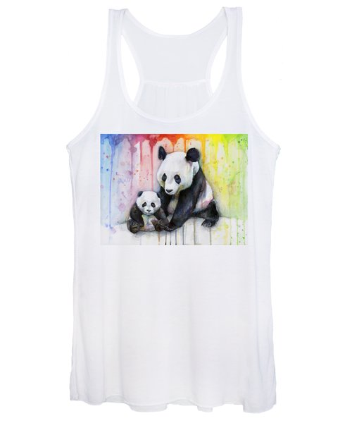 Panda Watercolor Mom And Baby Women's Tank Top