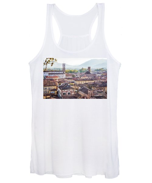 panorama of old town Lucca, Italy Women's Tank Top