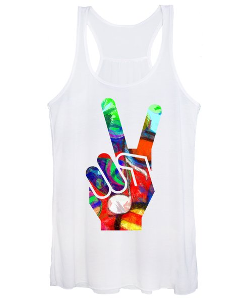 Women's Tank Top featuring the digital art Peace Hippy Paint Hand Sign by Edward Fielding