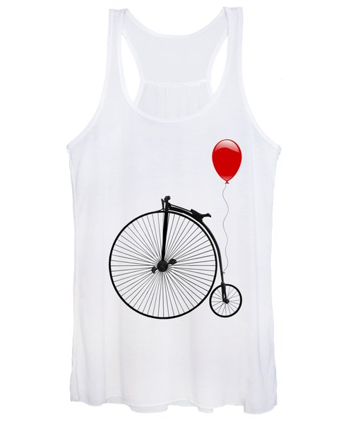 Penny Farthing With Red Balloon Women's Tank Top