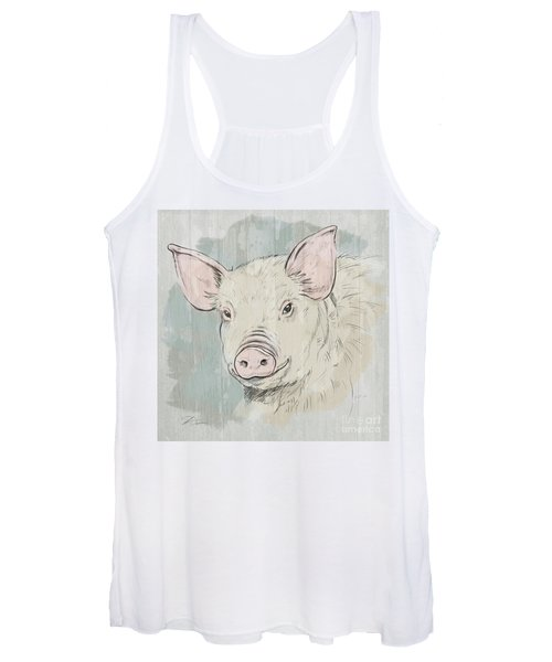 Pig Portrait-farm Animals Women's Tank Top