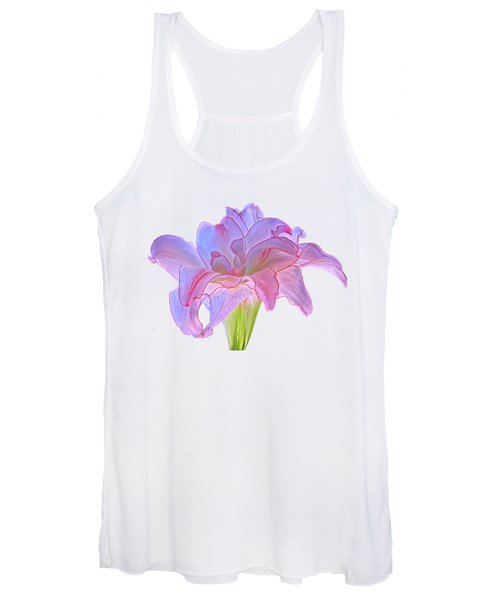 Pink And Purple Amaryllis On White Women's Tank Top