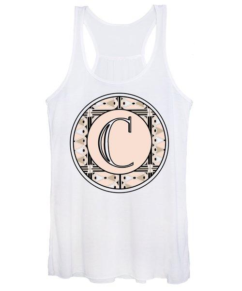 Pink Champagne Deco Monogram  C Women's Tank Top