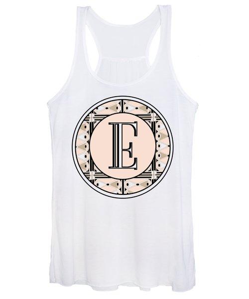 Pink Champagne Deco Monogram  E Women's Tank Top