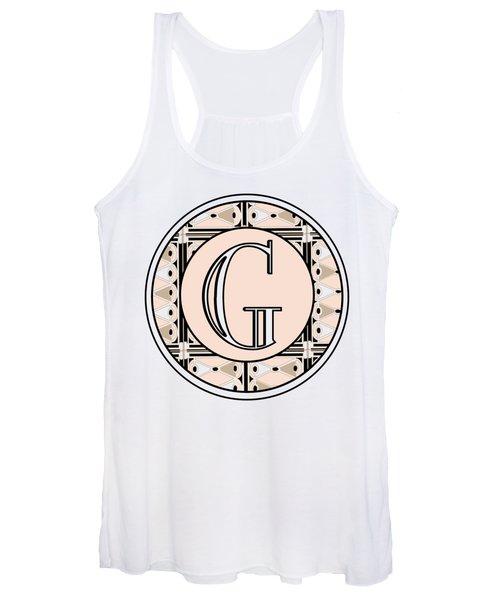 Pink Champagne Deco Monogram  G Women's Tank Top