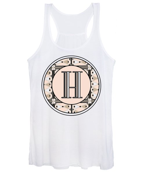 Pink Champagne Deco Monogram  H Women's Tank Top