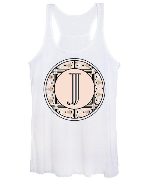 Pink Champagne Deco Monogram  J Women's Tank Top