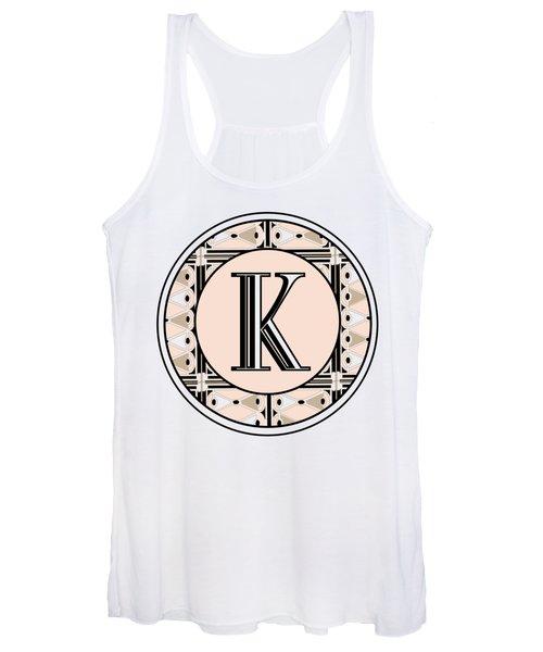 Pink Champagne Deco Monogram  K Women's Tank Top