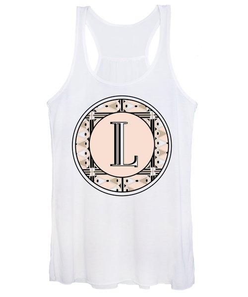 Pink Champagne Deco Monogram  L Women's Tank Top