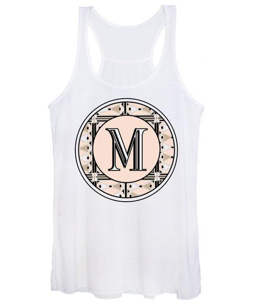 Pink Champagne Deco Monogram  M Women's Tank Top
