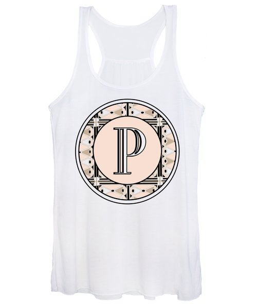 Pink Champagne Deco Monogram  P Women's Tank Top