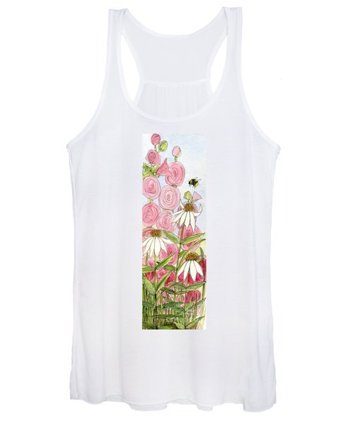 Pink Hollyhock And White Coneflowers Women's Tank Top