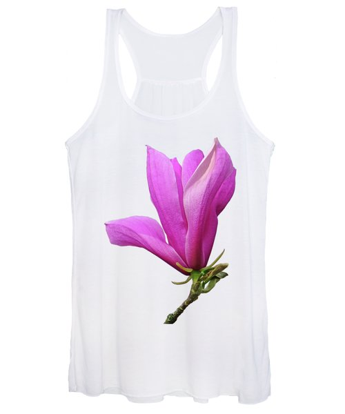 Pink Magnolia On White Women's Tank Top