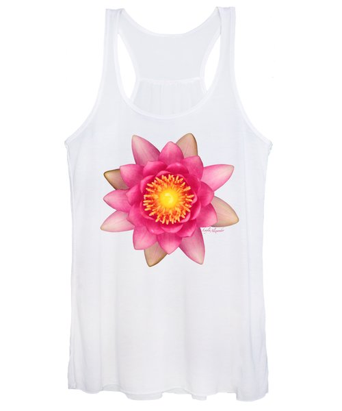 Pink Water Lily Yellow Nectar Transparent Women's Tank Top