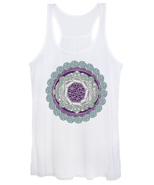 Plum Mint Art Deco Daisy Flower Women's Tank Top
