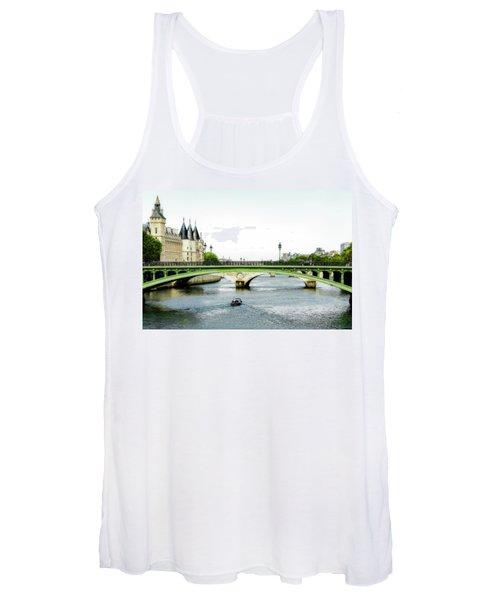 Pont Au Change Over The Seine River In Paris Women's Tank Top
