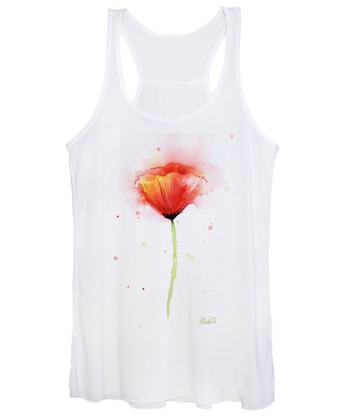 Poppy Watercolor Red Abstract Flower Women's Tank Top