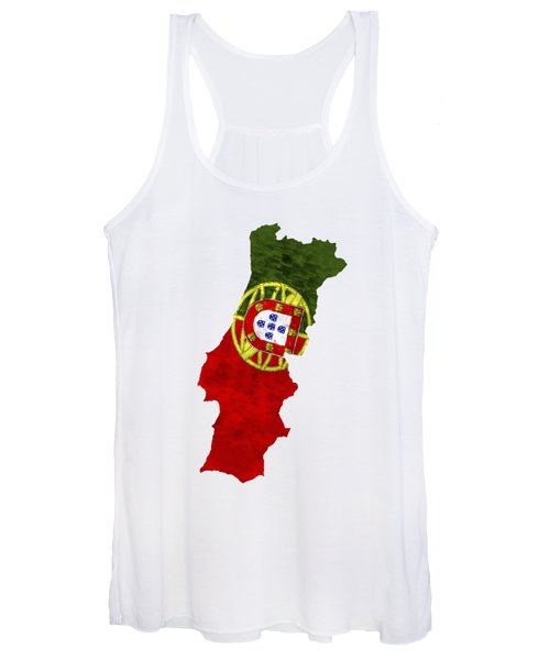 Portugal Map Art With Flag Design Women's Tank Top