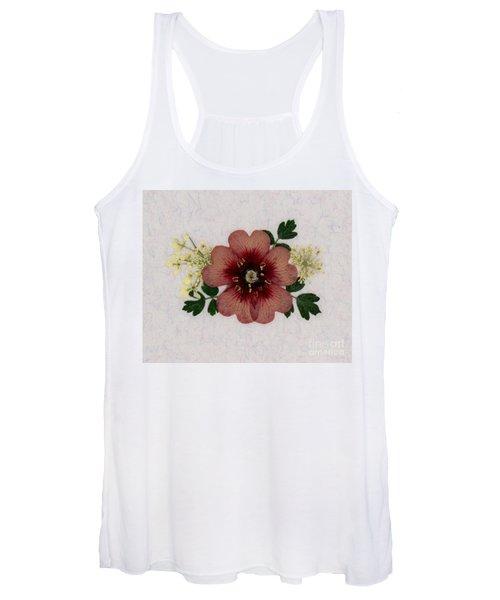 Potentilla And Queen-ann's-lace Pressed Flower Arrangement Women's Tank Top