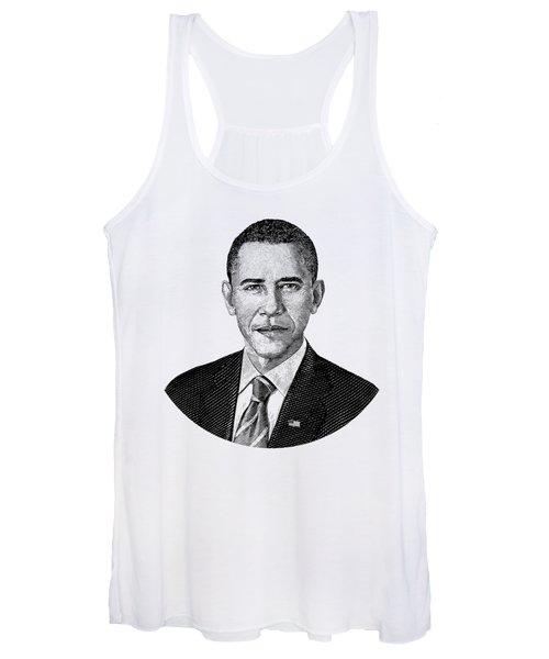 President Barack Obama Graphic Black And White Women's Tank Top