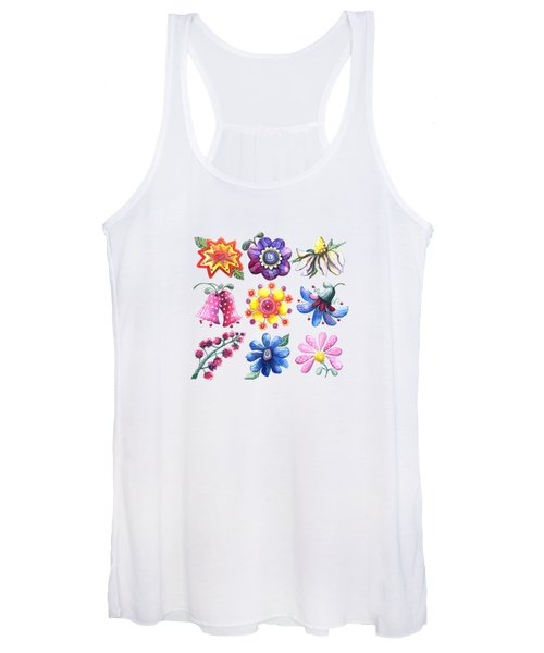 Pretty Flowers All In A Row Women's Tank Top