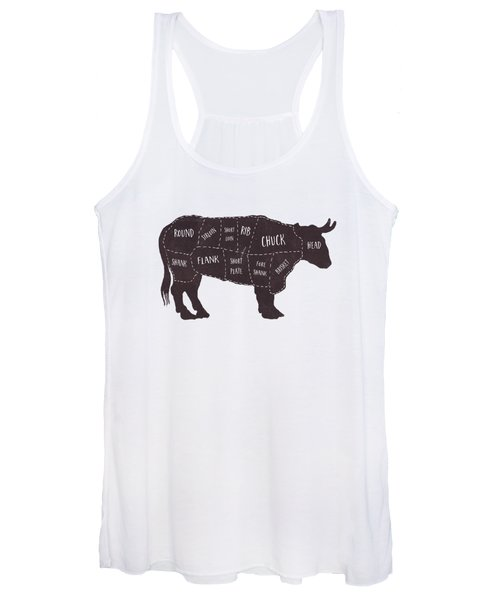 Primitive Butcher Shop Beef Cuts Chart T-shirt Women's Tank Top
